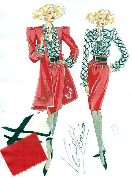 PH 60105.2. Fashions created by haute couturier, Victoria Cascajo, for her Toorak boutique, Balencia. Sketch undertaken by artist Mrs Lin Phillips; c.1980s.