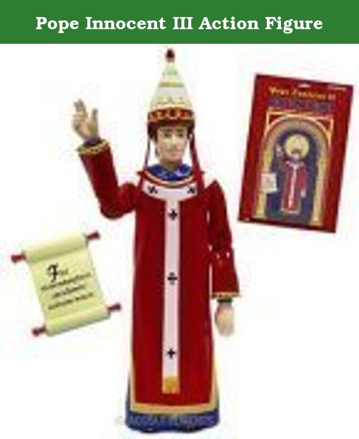 """Pope Innocent III Action Figure. Introduce this Pope Innocent III Action Figure to your other figures and watch the spiritual sparks fly! Armed with his formidable power of excommunication and an intimidating scroll inscribed with Latin text, this 6"""" tall, hard plastic model of the 176th Pope will soon have all your other action figures lining up for confession. Read the back of the illustrated blistercard and yoursquoll find that Pope Innocent III was a good guy in all respects. He was a..."""