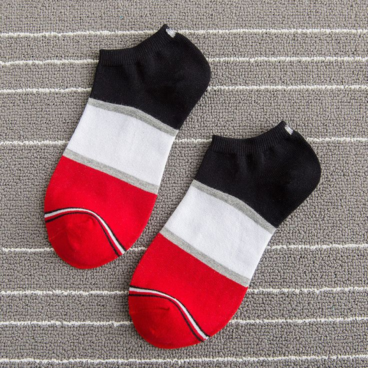 Mens Patchwork Cotton Boat Socks Stripe Casual Breathable Elastic Ankle Sock Online - NewChic