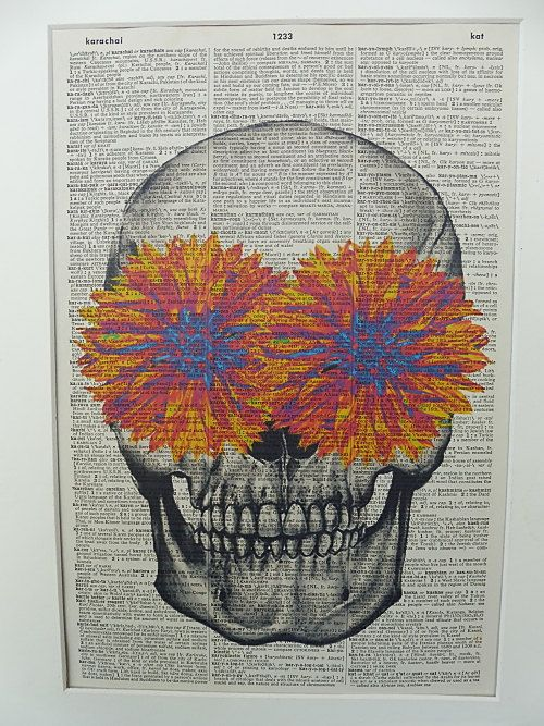 Skull with Orange/blue Flowers Dictionary Wall by DecorisDesigns