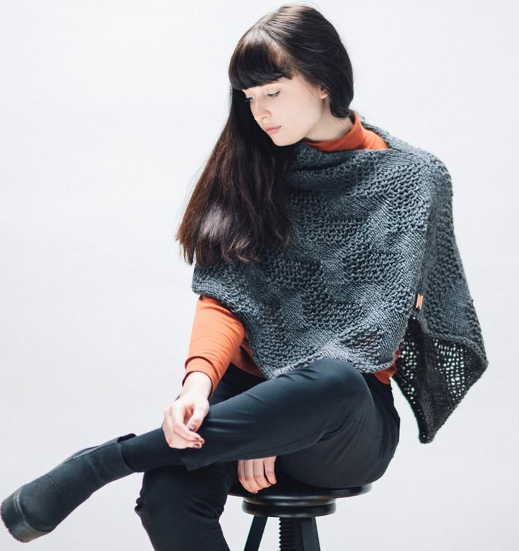 LUCE Warmer in steel is a hand knit poncho made with Peruvian highland wool by zed handmade