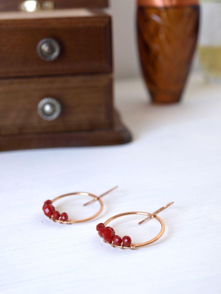 Minimalist Red Earrings, Copper Jewelry Earrings, Custom Color