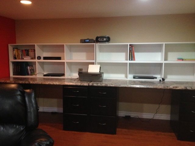 Countertop Desk : desk made from file cabinets, countertop, and bookshelves on top ...
