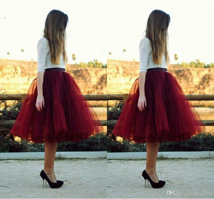 Fashion Women Tulle Skirt 5 Layers Puffy Burgundy Skirts For Knee Length Tutu Weddings Free Shipping J1021