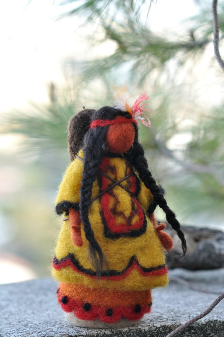 Needle felted  Waldorf Doll-Native American N11-Soft sculpture-standing doll-needle felt by Daria Lvovsky. $48.00, via Etsy.