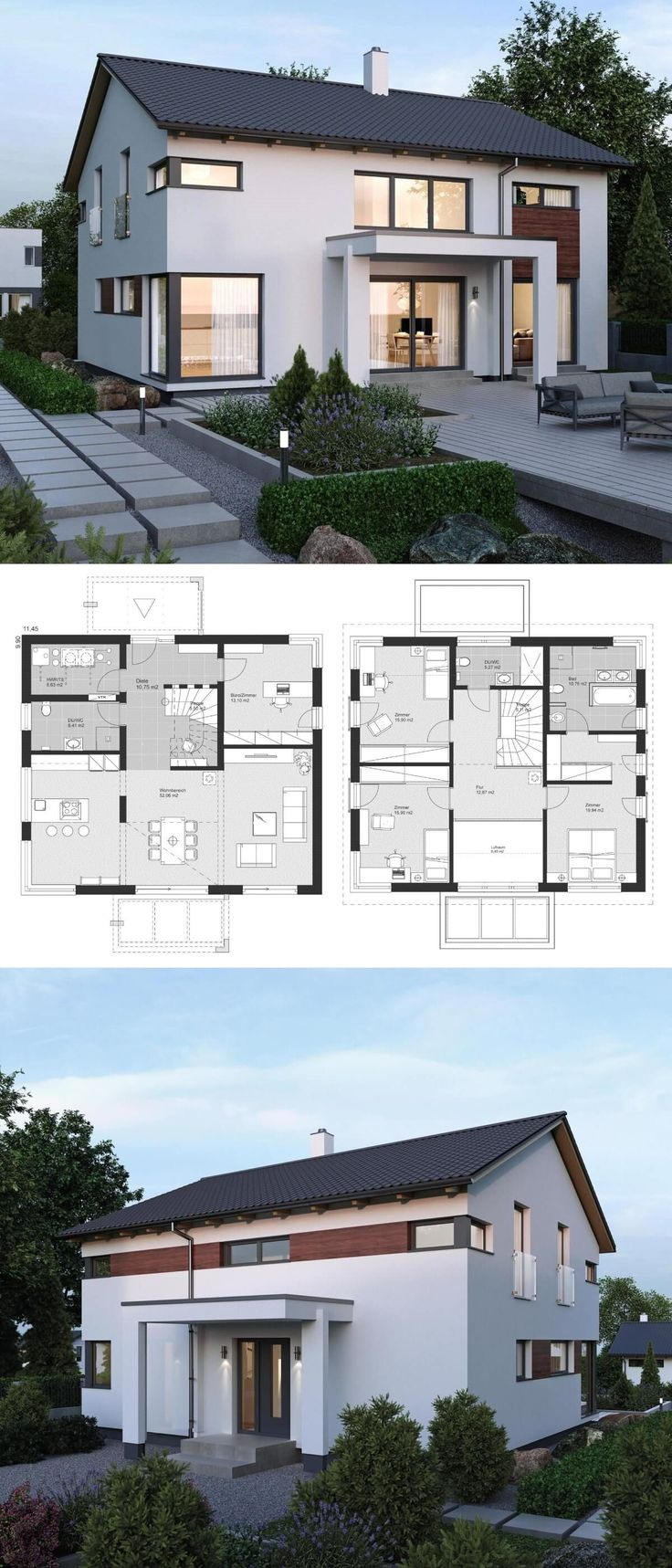 """New Modern Contemporary European Styles Architecture Design House Plans """"ELK Haus 189"""" – Dream Home Ideas with Open Floor and 2 Storey Layout by ELK Fertighaus – Arquitecture Style House Plan and Interior with Kitchen Living Room Bathrooms 3 Bedrooms Nursery Kids Office Entrance Hall – Arquitectura moderna casas planos – HausbauDirekt.de #home #house #houseplan #dreamhome #newhome #homedesign #houseideas #housegoals #construction #architecture #architect #arquitectura #hausbaudirekt"""
