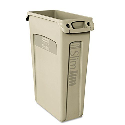 Rubbermaid Commercial Slim Jim Trash Can23 Gallon Beige FG354060BEIG