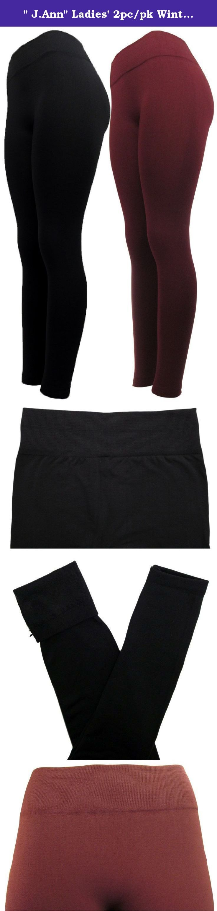 """"""" J.Ann"""" Ladies' 2pc/pk Winter Fleece Lined Leggings, Free Size, Color : Black_Burgundy. """"J.Ann"""" Ladies Fleece Leggings With reinforced waist and with super soft brushed fleece lined interior, It is opaque enough to be work with a tunic,skirt or ever paired with shorts, Can be dressed up with heels or just be worn to keep cozy at home.This is a."""