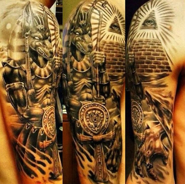 ... half sleeve tattoo of Egypt themed attributes - Tattooimages.biz