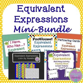 This math mini-bundle's got you covered for practice with equivalent expressions! Included are: Equivalent Expressions Matching, Practice Sheet and Exit Tickets; Equivalent Expressions Color by Number; Equivalent Expressions Task Cards/Footloose; Equivalent Expressions I Have, Who Has; Equivalent Expressions Partnering Cards$