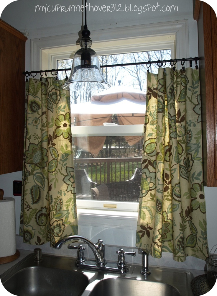 kitchen curtainsi like the idea of mounting them lower than the top - Ideas For Kitchen Curtains