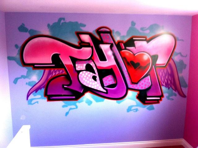 Girls graffiti bedroom wall mural for Bedroom graffiti designs