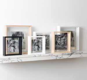 Cadre photo carré bois (3 coloris) contour transparent XL Boom