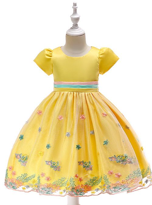 0b6e4aa4ed4 Kids Girls  Vintage   Active Party   Holiday Floral Short Sleeve  Knee-length Dress Green 2019 - US  23.93