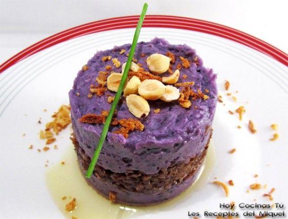 Parmentier de patata violeta y pato confitado