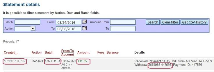 Here is my Withdrawal Proof from AdClickXpress. I get paid daily and I can withdraw daily. Online income is possible with ACX, who is definitely paying - no scam here.  Date: 07.06.2016 (18:19h) To Pay Processor Account: U5301307 Amount: 11.35 Currency: USD Batch: 136003153 Memo: API Payment. Ad Click Xpress Withdraw 2679985-447566  Join now: http://www.adclickxpress.is/?r=goki_mkd