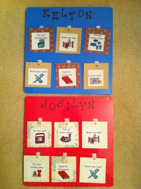 Chore charts for kids:) Made from dry erase board, scrapbook paper and