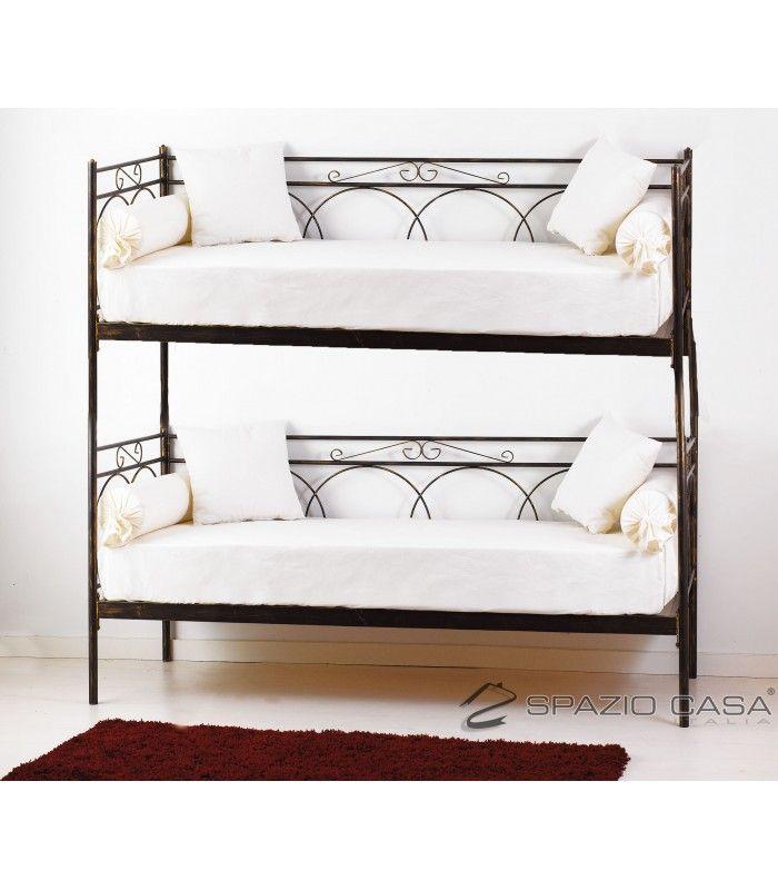 Divano letto a castello in ferro battuto con rete integrata 12 doghe in legno di faggio modello TOSCA.
