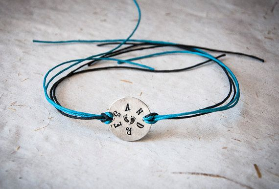Friendship bracelet with round metal tag by SilviaWithLove on Etsy