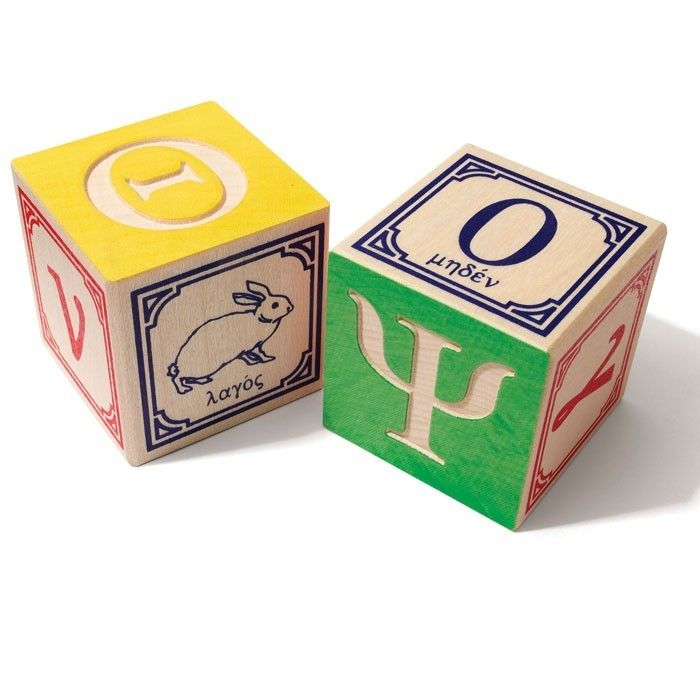 Uncle Goose Greek Alphabet Blocks - Tumble & Roll Educational Toys. These blocks are ideal for early building and stacking games and learning new words and spelling. $64.00 #educationaltoys #toys #kids