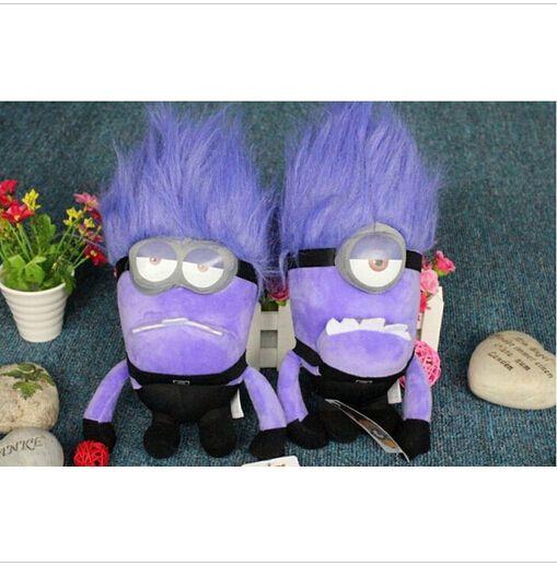 Despicable ME 2 Minions Purple Evil 2 eyes Plush Doll Toy 23 cm Brinquedos Minions Pelucia