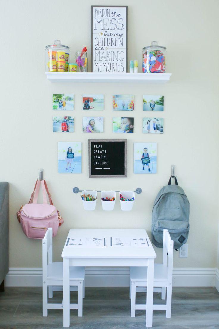 Diy Homework Station For Young Kids Kids Desk Organization Kids Homework Station Kids Homework Room