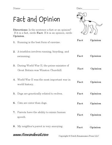 Fact and opinion worksheets answers
