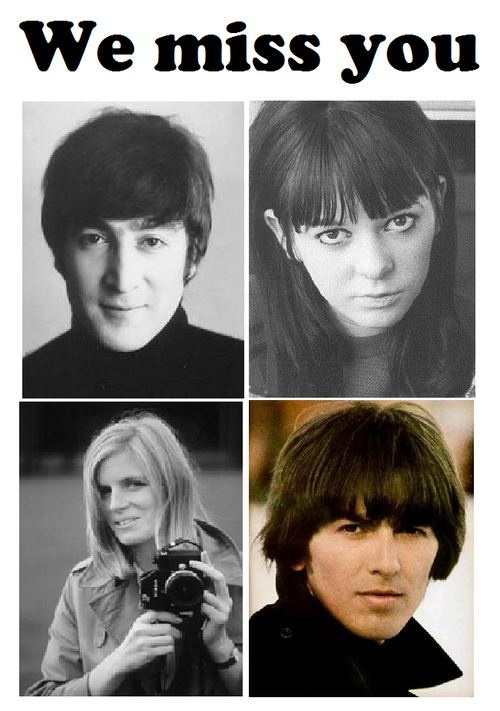 We Miss You- John Lennon, Maureen Cox-Starkey, Linda Eastman-McCartney, and  George Harrison (Source- https://www.facebook.com/pages/John-Lennon-U-R-Wonderful-and-I-Love-You/117953921593879?fref=ts)
