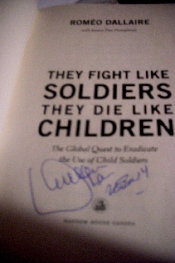 """Another one of my favorite books and one that has also inspired me was """"They Fight Like Soldiers, They Die Like Soldiers"""" about child soldiers. I highly recommend this book."""