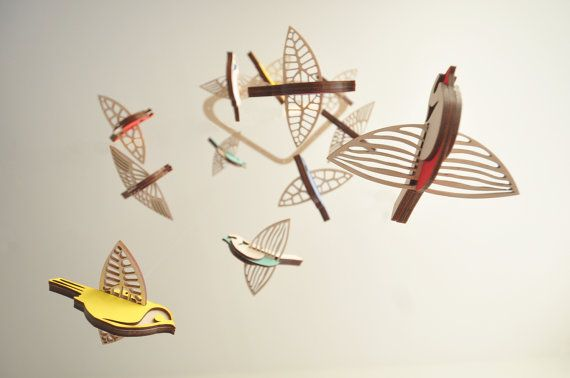Vol oiseau haut mobile grand  mobile en bois  chambre de