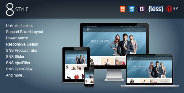Check out SNS I8style – Premium Responsive Magento Theme. Premium Bootstrap Template @bootstrapstage