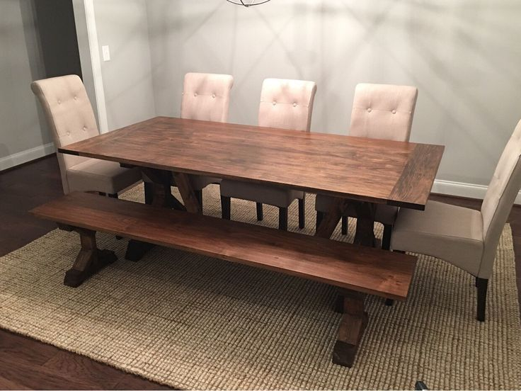 Mission Style Farmhouse Trestle Dining Table by FlippingFuquay on Etsy https://www.etsy.com/listing/261376360/mission-style-farmhouse-trestle-dining