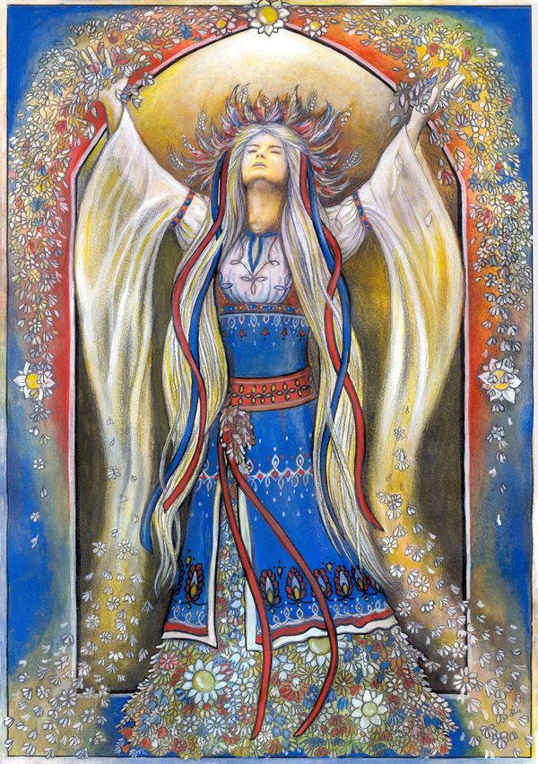 Vesna, por Janko Las. Vesna é a antiga deusa eslava da Primavera e do despertar. Seu nome significa mensageiro. Ela era um protetor de seu povo, especialmente das mulheres. Ela retorna a partir do submundo no Equinócio da Primavera, trazendo a Primavera junto com ela.