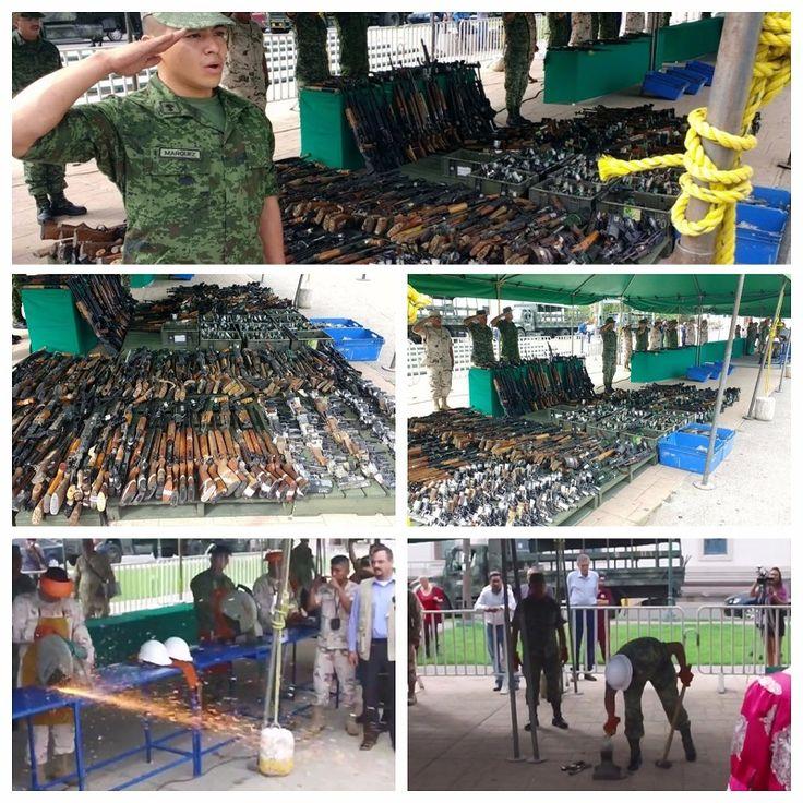 Destruye Ejército más de mil armas y 7 mil cartuchos decomisados, en la Plaza del Ángel | El Puntero