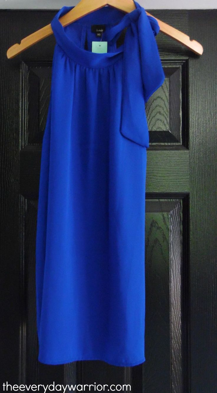 Love the cobalt blue and neck detail of the Iner Kahla Tie-Neck Blouse