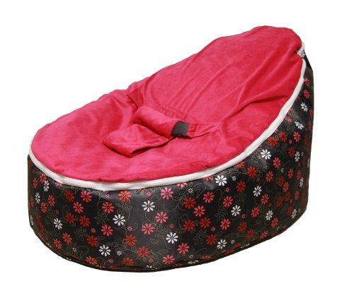 SnuggleRoo Baby Bean Bag Chair FILLED WATERPROOF Pink Flowers
