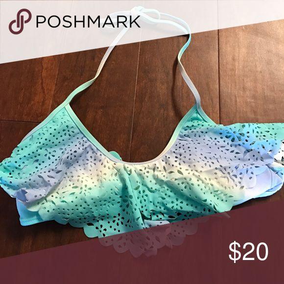 Victoria's Secret swim top Teal, blue and white ombré swim top. Cut out design along the front. PINK Victoria's Secret Swim Bikinis