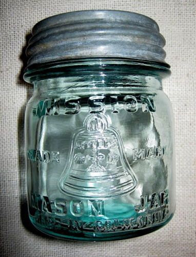 Old 1 2 Pint Blue Mission Mason Jar with Bell Zinc Lid California Hard to Find | eBay