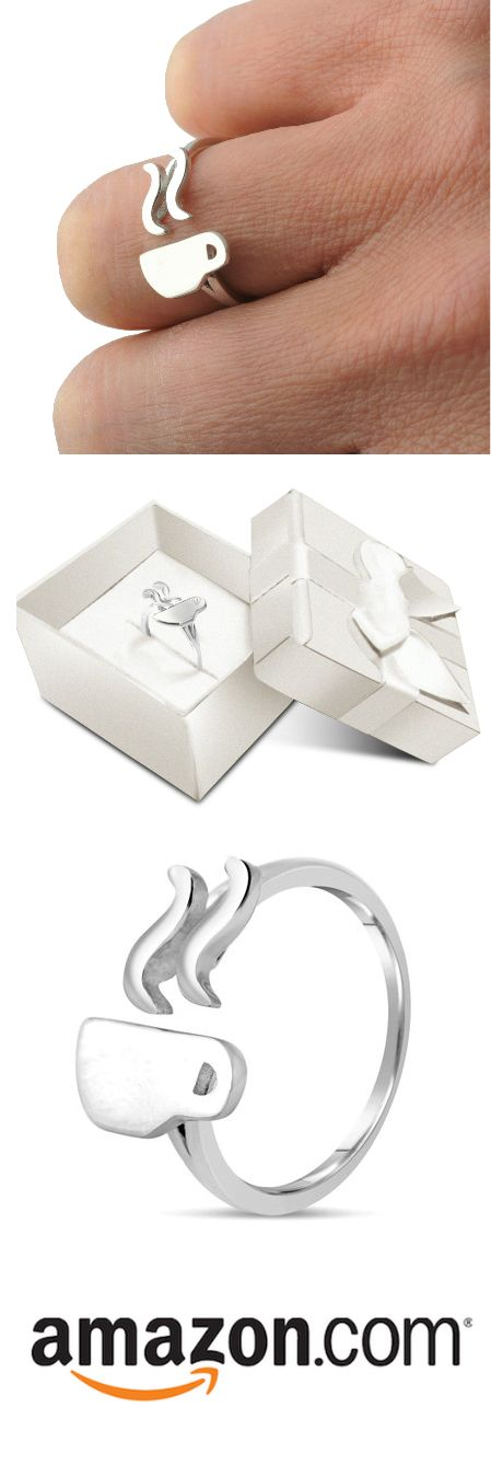 .925 Sterling Silver Coffee Cup Ring. Available Exclusively on Amazon!