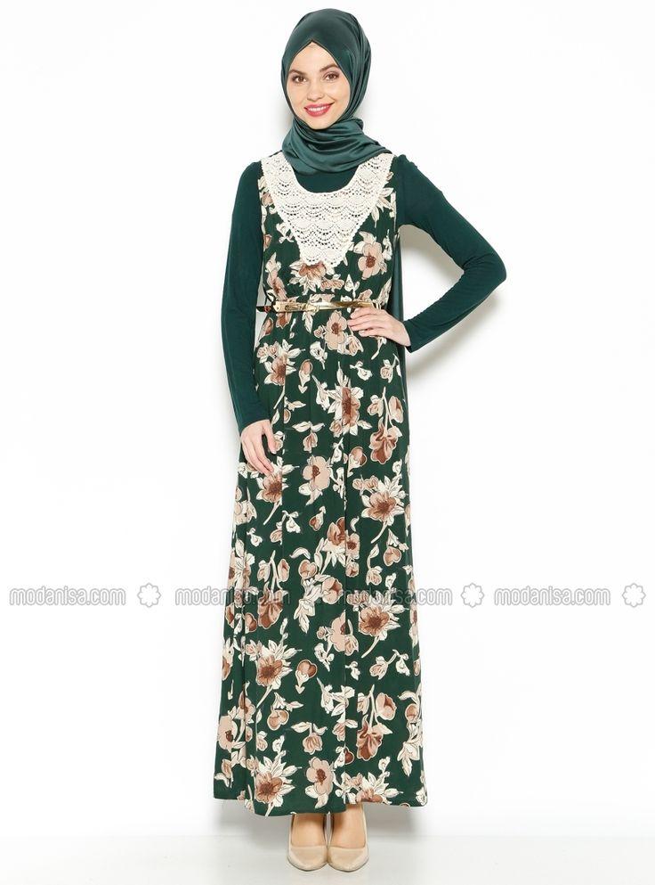 Güpür Detaylı Elbise - Yeşil - Efz
