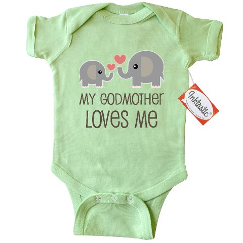 My Godmother Loves Me Infant Creeper gift for a Godchild has cute elephants and hearts.