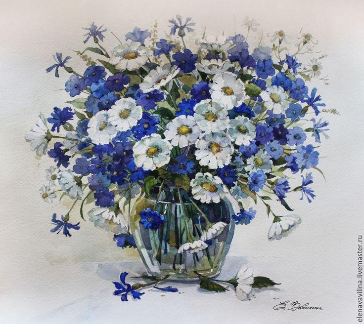 Купить Васильки и ромашки - тёмно-синий, васильки, ромашки, полевые цветы, натюрморт с цветами, натюрморт