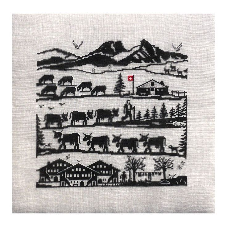 CollecXion du Chalet, kit Poya montée à l'alpage (H181) - Au Point-Compté - Boutique d'articles à broder au point de croix