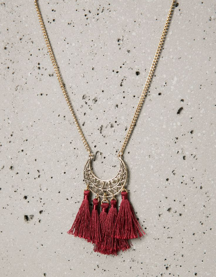 Bershka France - Collier long plaque et pompons