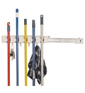 The Store 'N Slide Mop and Broom Organizer can mount into tight and narrow spaces to create hanging storage for mops brooms and sweepers. This broom holder features a friction ball design that securely grips a handle that is lowered into it and a sliding rail design that can be mounted to slide either left or right. Th