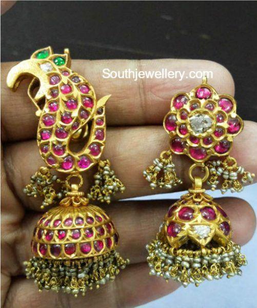 Antique Gold Kundan Jhumki Designs