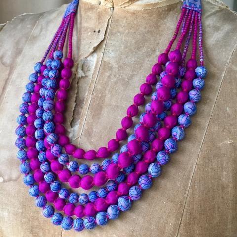 Silk Beads - 6 Strand - Mauve and Cerise
