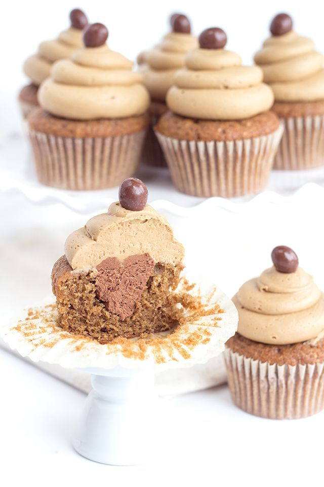 Coffee Cupcakes with Coffee Buttercream and Whipped Mocha Ganache Filling