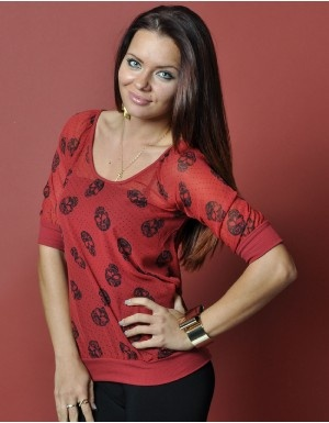 Brick Red Chiffon Skull Top (a favourite gothic punk clothes repin of VIP Fashion Australia )