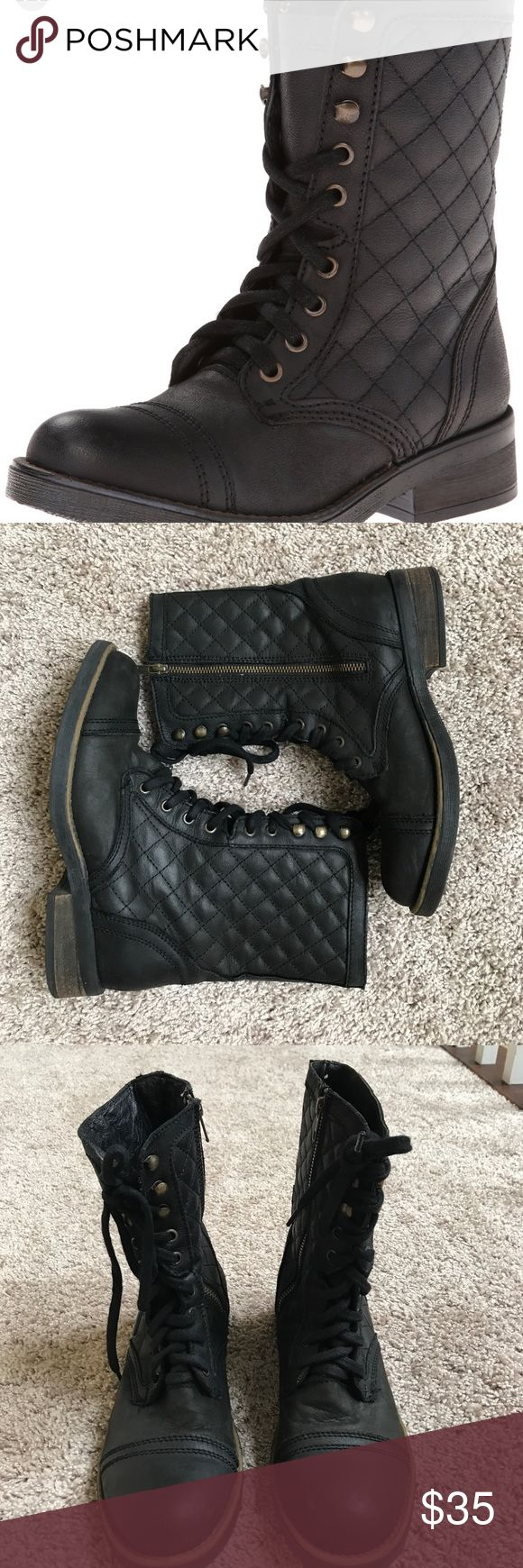 """Steve Madden Saffrin Combat Boots Steve Madden black Saffrin Combat Boots size 9 1/2. Excellent preloved condition except for few minor scuffs shown in picture. Leather upper and lining. Quilted with side zip closure and laces up. Clean toe and heel overlay. Man made insole and traction rubber sole. 1 1/4"""" heel Steve Madden Shoes Combat & Moto Boots"""